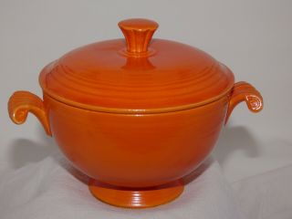 Vintage Fiesta Covered Onion Soup Bowl Radioactive Red
