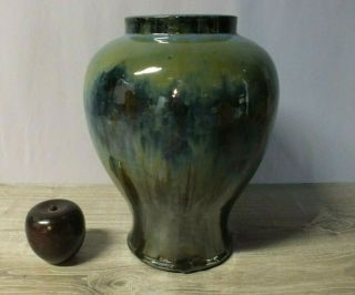 "Fulper Pottery Arts And Crafts 11 ½"" High Shouldered Vase Blue Green Drip Glaze"