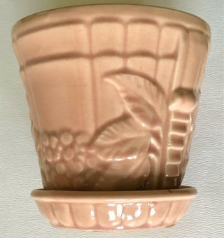 Vintage Brush Mccoy Art Pottery Pink Arts & Crafts Leaves Berry Flower Pot Vase