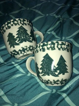Set Of 2 Folk Craft Tienshan Sponge Tree Green Mugs Coffee