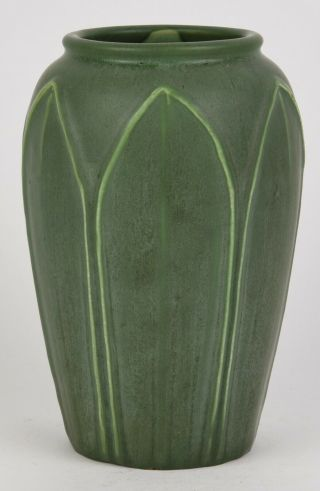 Hampshire Pottery Matte Green Arts And Crafts Vase Decorated With Leaves