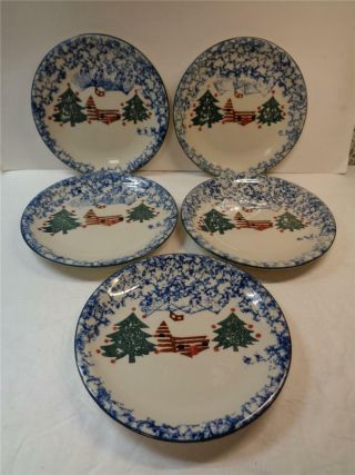 5 Folk Craft Cabin In The Snow 7.  5 Inch Salad Dessert Plates Tienshan Christmas