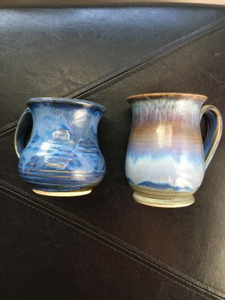 Coffee Mugs Pottery Hand Crafted Signed Hues Of Blue Set Of 2