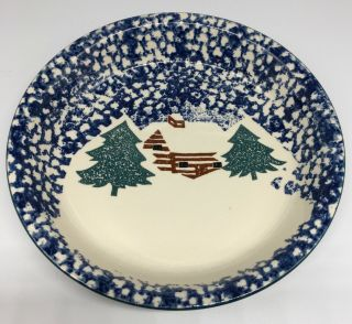 "Tienshan Folk Craft Cabin In The Snow Pie Plate 10 1/4 "" Blue Sponge Ware"