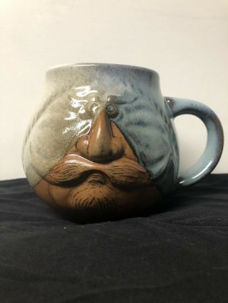 Raised Man Face Mustache Goatee Coffee Mug - Soup Mug - Pottery Craft Stoneware