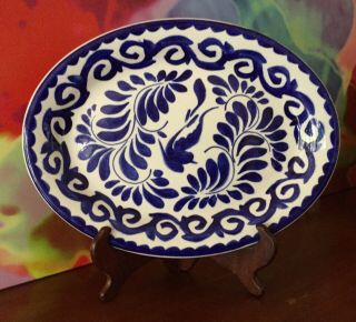 "Anfora // Pueblo Blue 12 1/2 "" Platter // Hand Crafted Painted // Made In Mexico"