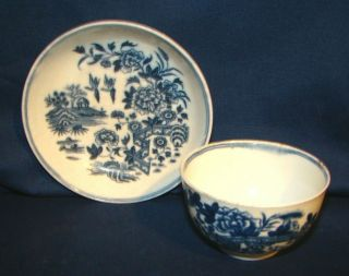 18th Century Dr.  Wall First Period Worcester Fence Tea Bowl Cup & Saucer