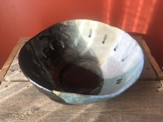 Large Pottery Serving Bowl Signed Hand Crafted 1998 Black Blue