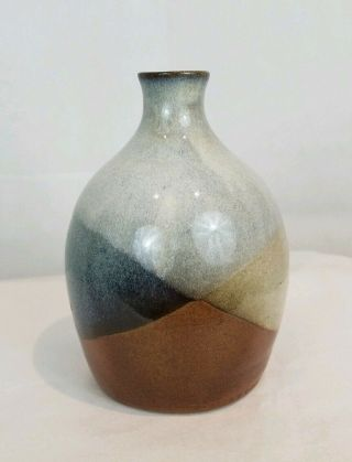 Pottery Craft Usa Robert Maxwell Style Vase,  Brown Blue White,  6 ""