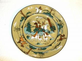 "Buffalo Pottery Deldare Ware 8 3/4 "" Plate 1909 "" The Fallowfield Hunt The Death """