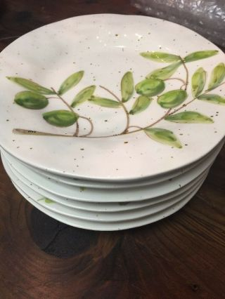 Set Of 6 Napa Home & Garden Made It Italy Olive Salad Plates Nwt - Over $200