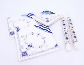 Packages Of Napkins & Candles - Blue Fluted - Royal Copenhagen - In Plastic