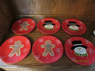 Home And Garden Party (3) Gingerbread Plates (3) Snowman Plates