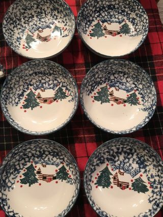 Tienshan Folk Craft Cabin In The Snow Stoneware 6 Cereal Bowls