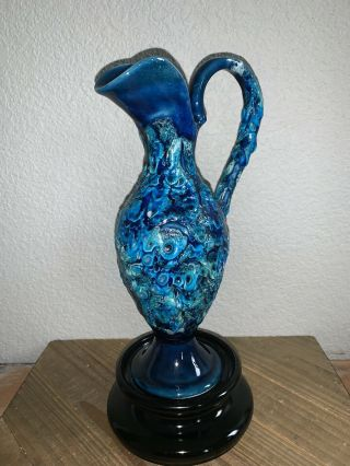 "9.  5"" Hand Crafted Vallauris Seafoam Sea Blue Lava Ceramic Clay Pottery Pitcher"