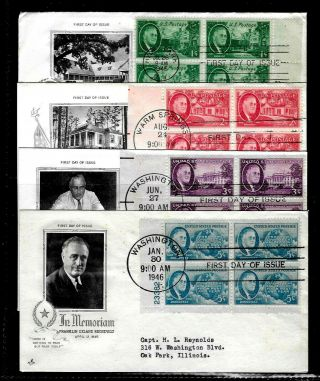 U S 930 - 3 Stamp Set - Franklin D.  Roosevelt Memorial - Art Craft Fdc - Plate Blocks