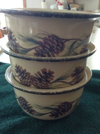 Set Of 3 Northwoods Home & Garden Party Pinecone Bowls Euc Made In Usa 2004