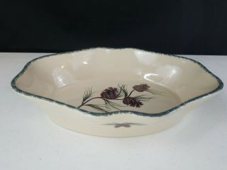 Home And Garden Party Stoneware Northwoods Pine Cones Casserole Baking Dish