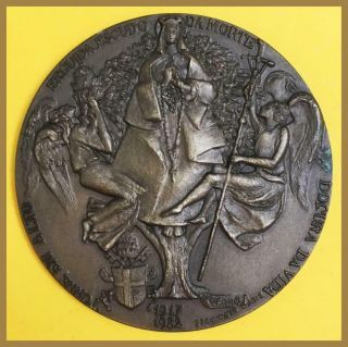 Religious Bronze Medal/ Pope John Paul Ii/ Our Lady Of Fatima And Angels
