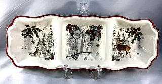 """Better Homes Gardens Heritage Winter Forest Coll Divided Relish Tray Server 15 """""""