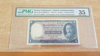 Straits Settlements 1 Dollar 1934 Pmg 35 No Remarks Key Date Rare Year