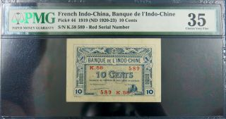 French Indochina 1919 10 Cents,  Sign 6,  Pick 44.  Red Serial Number Pmg 35