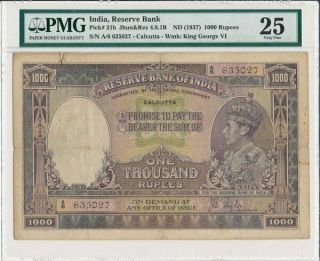 Reserve Bank India 1000 Rupees Nd (1937) George Vi Pmg 25