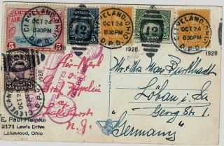 Usa 1928 Pc,  6 Stamps,  By Zeppelin Cleveland To Germany