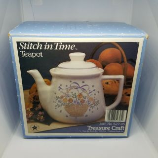 Stitch In Time Teapot Treasure Craft Auntie Em Vtg 1986 Hallmark Vintage Nib