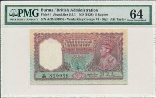 Reserve Bank Of India Burma 5 Rupees Nd (1938) George Vi S/no 8x99x8 Pmg 64
