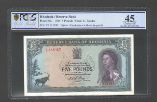 1966 Rhodesia £5 Five Pounds J3 115187 Pcgs Graded 45 Choice Ef P29a Lovely Note