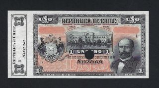 Chile One Peso Nd (1898 - 1919) P15s Specimen Aunc - Unc