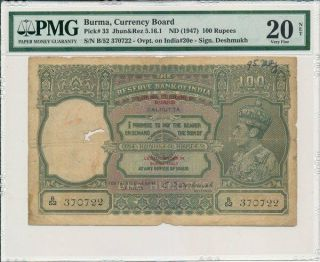 Reserve Bank Of India Burma 100 Rupees Nd (1947) Ovpt.  On Calcutta Pmg 20net
