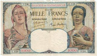 Madagascar 1000 Francs 1947 Large Great Design French Colonies Note Pick 41