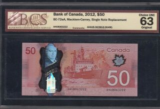 Bc - 72aa 2012 $50 Ahu 8063222 Single Note Replacement (snr) Bcs Chunc - 63