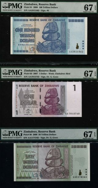 Tt Pk 91,  90 & 65 Zimbabwe 100,  50 Trillion & 1 Dollar Set Of 3 Notes Pmg 67 Epq
