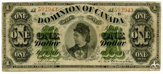 1878 Dominion Of Canada One Dollar Vg Banknote Countess Of Dufferin