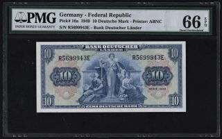 Germany - Federal Rep 10 Deutsche Mark 1949 P16a (pmg 66 Epq) Premium Quality