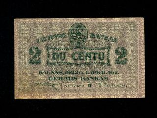 Lithuania:p - 8,  2 Centu,  1922 1922 November Issue Au - Unc