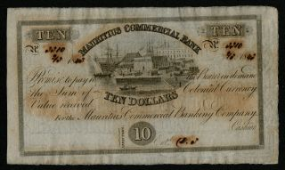 Mauritius (ps122r) 10 Dollars = 2 Pounds 1843 Aunc,  Scarce
