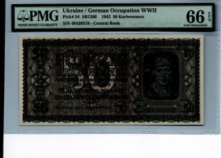 Ukraine German Occupation Wwii 50 Karbowanez 1942 Ms 66 Certified