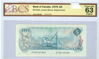 Can - Note: $5 Replacement Note 1979,  Bc - 53aa,  Pmg - 58 Epq.  Est:$500