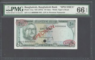 Bangladesh 10 Taka Nd (1972) P11as Specimen Tdlr Uncirculated Graded 66