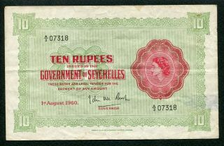 Seychelles 1960,  10 Rupees,  P12b,  Vf With Back Side Be Torn