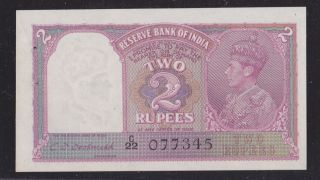 Nd 1943 Reserve Bank Of India 2 Rupees Uncirculated.
