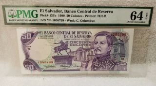 El Salvador,  Banco Central De Reserva Pick 131b 1980 50 Colones Pmg 64 Epq