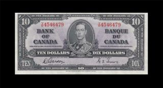 "1937 Bank Of Canada Kgvi $10 Gordon & Towers "" Y/d "" ( (gem Unc))"