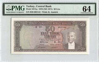 Turkey 1970 (nd 1971) P - 187aa Pmg Choice Unc 64 50 Lira