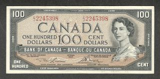 1954 $100.  00 Bc - 43c Vf Scarce & Bank Of Canada Qeii Old One Hundred Dollars