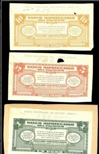 (3) Cali Colombia Banco De Hipotecario Del Pacifico Back Proofs 1,  5,  10 Pesos 1920